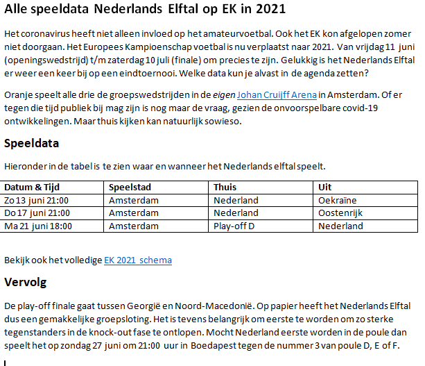 Programma EK 2021